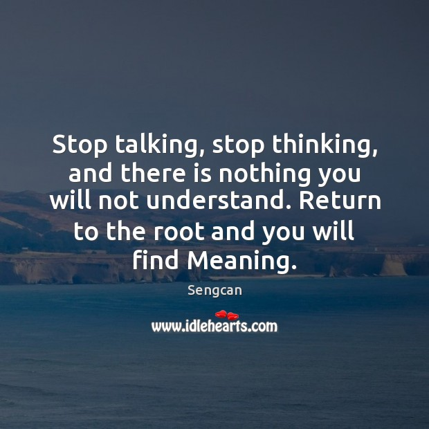 Stop talking, stop thinking, and there is nothing you will not understand. Image