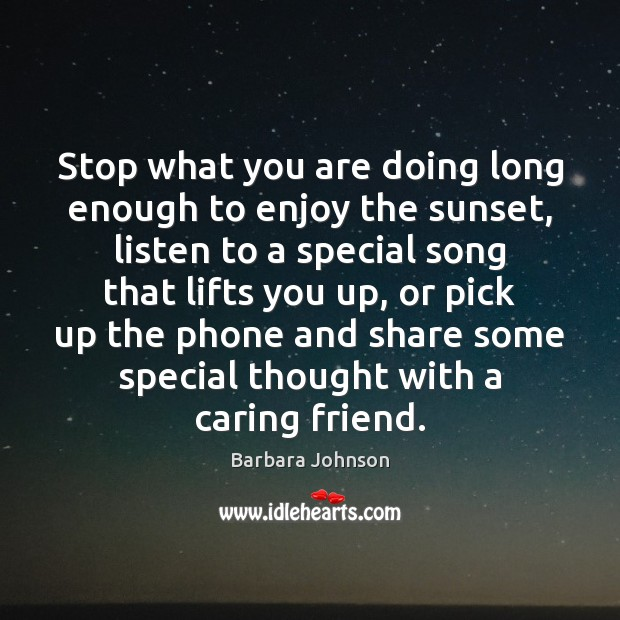 Stop what you are doing long enough to enjoy the sunset, listen Barbara Johnson Picture Quote