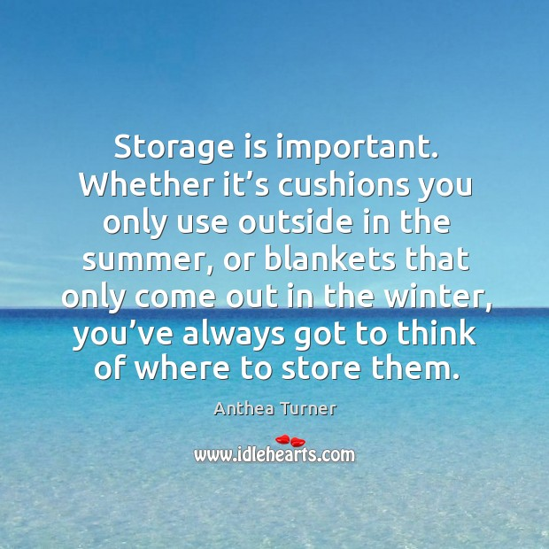 Storage is important. Whether it's cushions you only use outside in the summer Image
