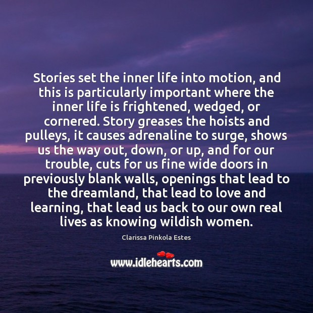 Stories set the inner life into motion, and this is particularly important Clarissa Pinkola Estes Picture Quote