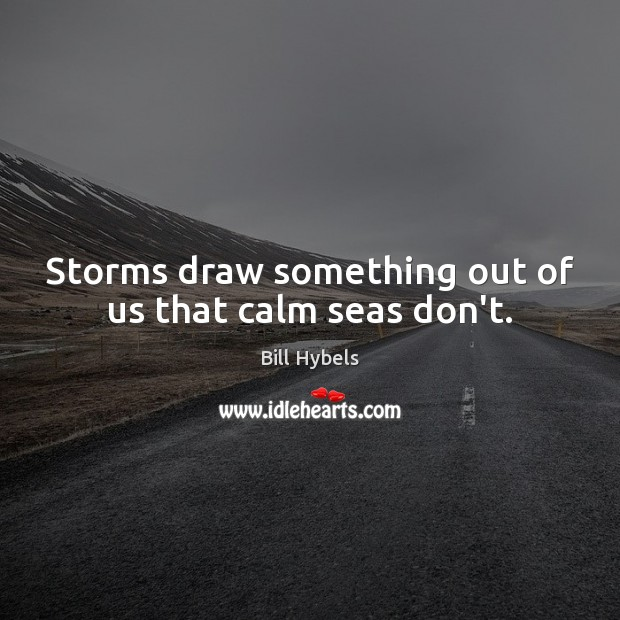 Storms draw something out of us that calm seas don't. Bill Hybels Picture Quote
