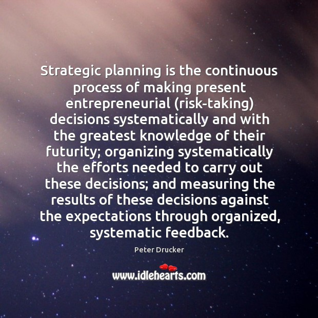 Strategic planning is the continuous process of making present entrepreneurial (risk-taking) decisions Image