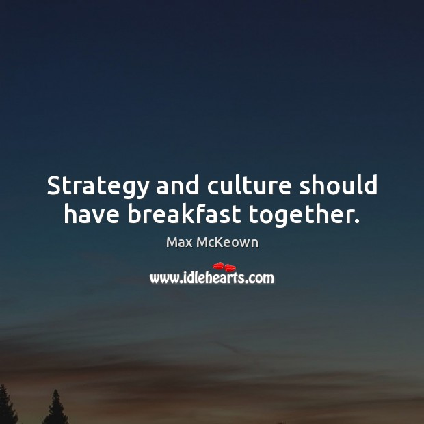 Image, Strategy and culture should have breakfast together.