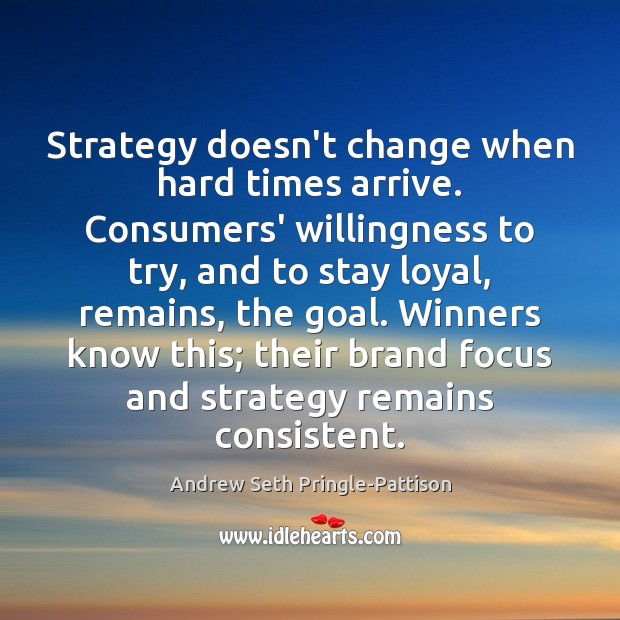 Image, Strategy doesn't change when hard times arrive. Consumers' willingness to try, and