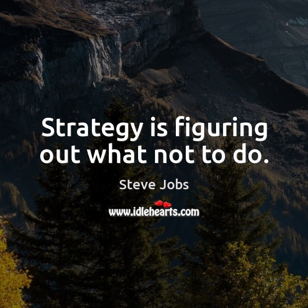 Image, Strategy is figuring out what not to do.