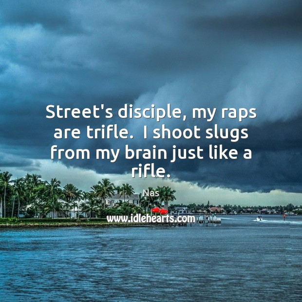 Street's disciple, my raps are trifle.  I shoot slugs from my brain just like a rifle. Nas Picture Quote
