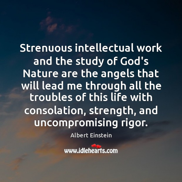 Image, Strenuous intellectual work and the study of God's Nature are the angels