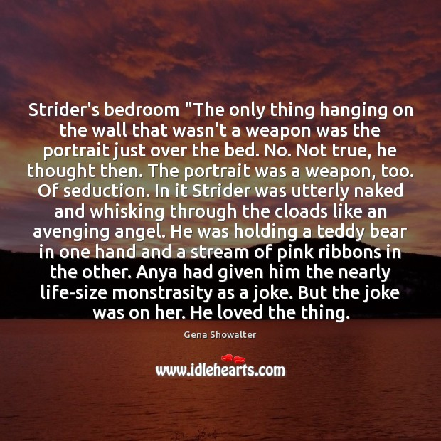 "Image, Strider's bedroom ""The only thing hanging on the wall that wasn't a"
