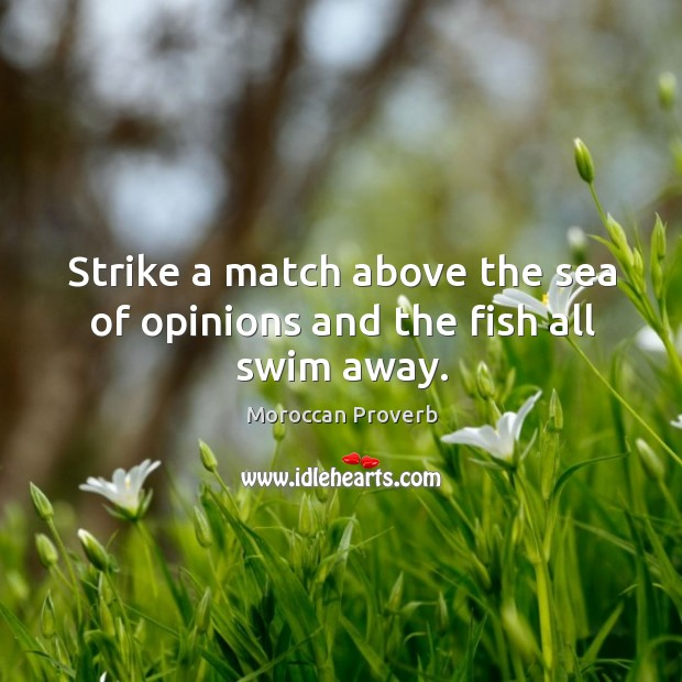 Strike a match above the sea of opinions and the fish all swim away. Moroccan Proverbs Image