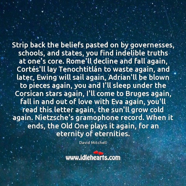 Strip back the beliefs pasted on by governesses, schools, and states, you David Mitchell Picture Quote