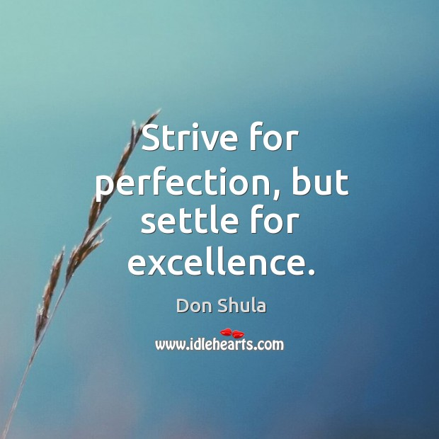 Image, Strive for perfection, but settle for excellence.