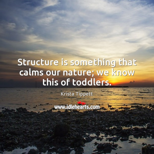 Structure is something that calms our nature; we know this of toddlers. Krista Tippett Picture Quote