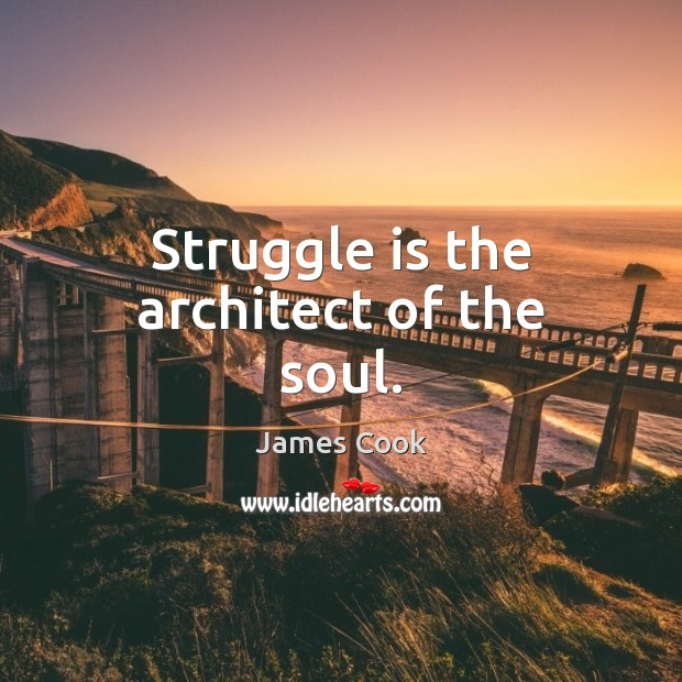 Struggle is the architect of the soul. James Cook Picture Quote
