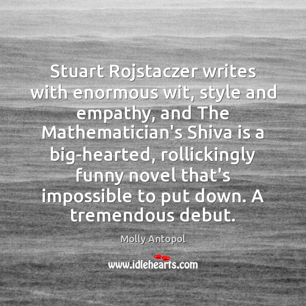 Stuart Rojstaczer writes with enormous wit, style and empathy, and The Mathematician's Image