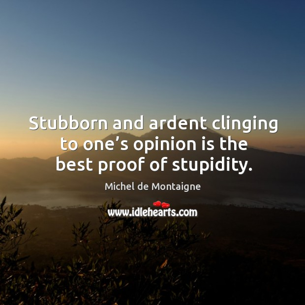 Stubborn and ardent clinging to one's opinion is the best proof of stupidity. Image