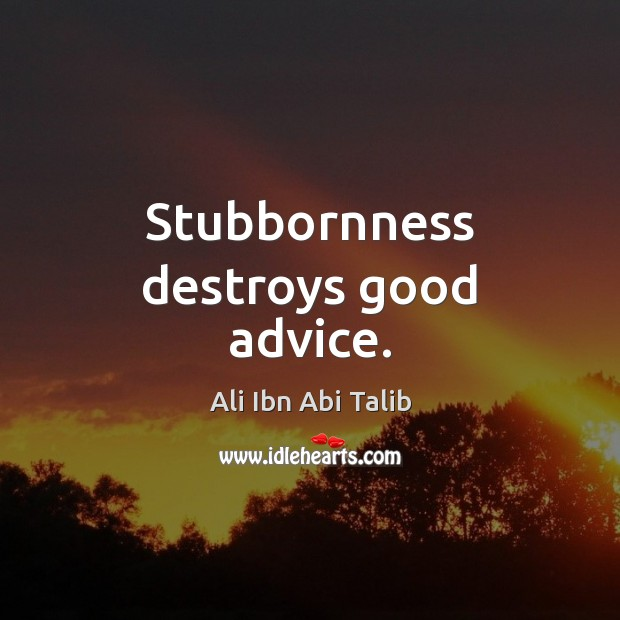 Image, Stubbornness destroys good advice.