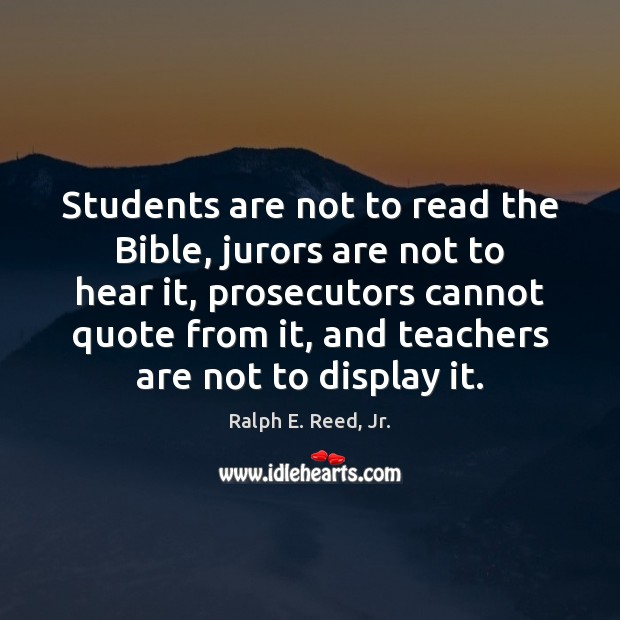 Students are not to read the Bible, jurors are not to hear Image