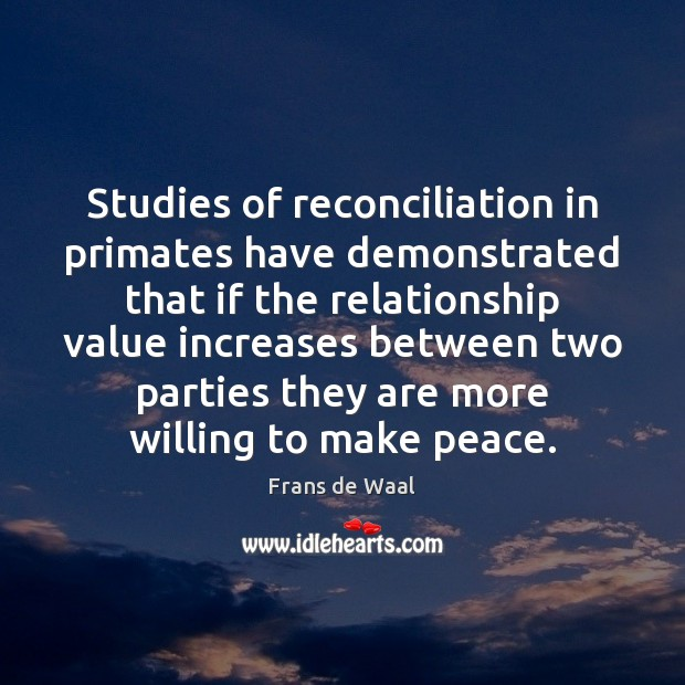 Studies of reconciliation in primates have demonstrated that if the relationship value Image