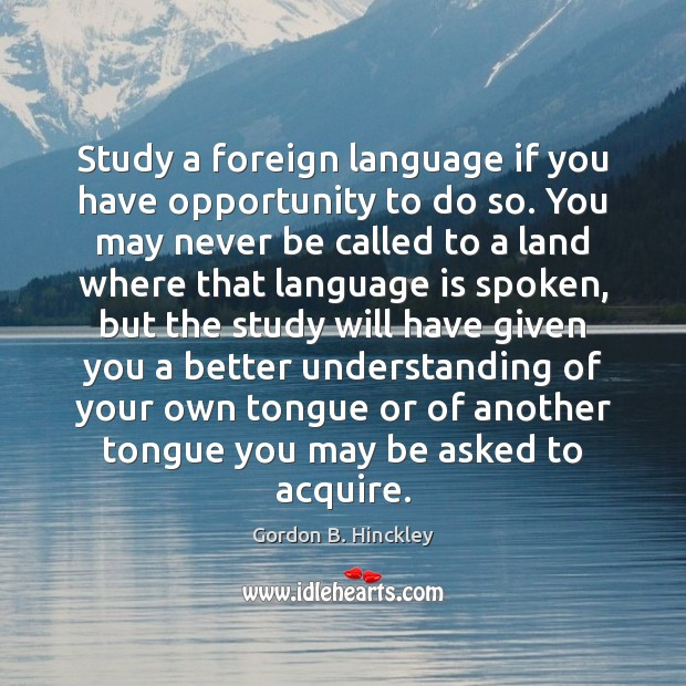 Study a foreign language if you have opportunity to do so. You Image