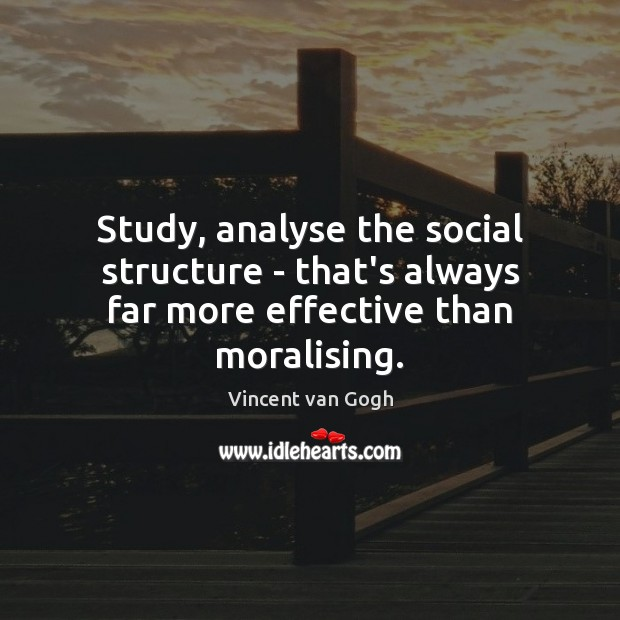 Image, Study, analyse the social structure – that's always far more effective than moralising.