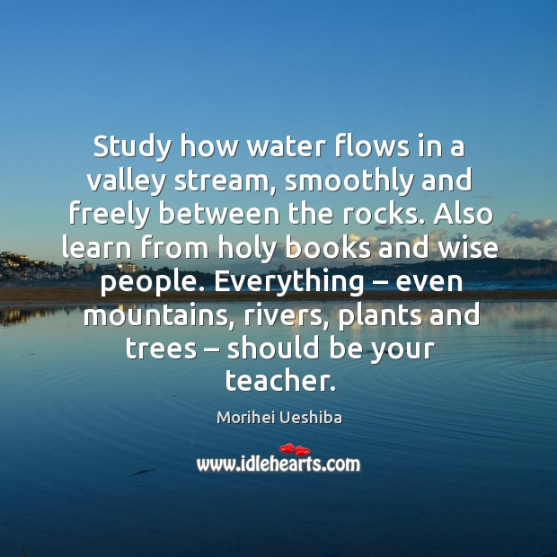 Study how water flows in a valley stream, smoothly and freely between the rocks. Image