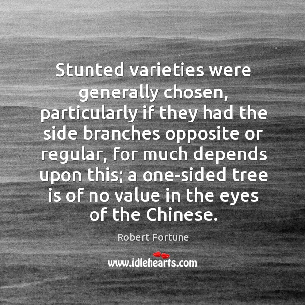 Stunted varieties were generally chosen, particularly if they had the side branches opposite or regular Robert Fortune Picture Quote
