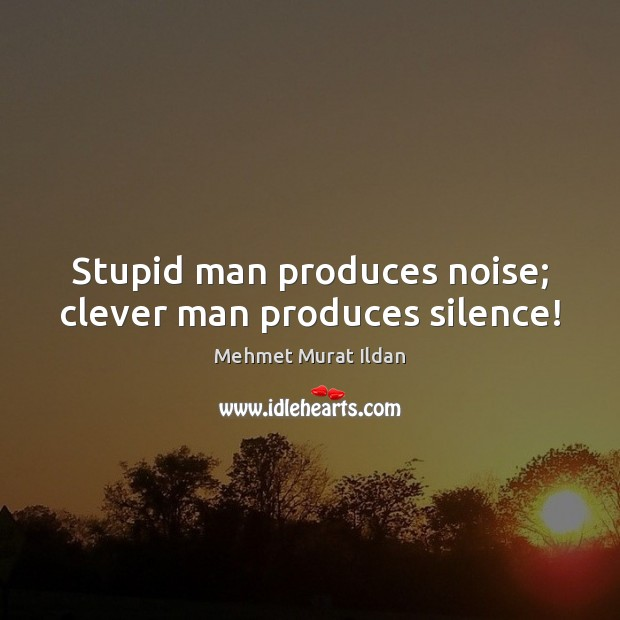 Image, Stupid man produces noise; clever man produces silence!