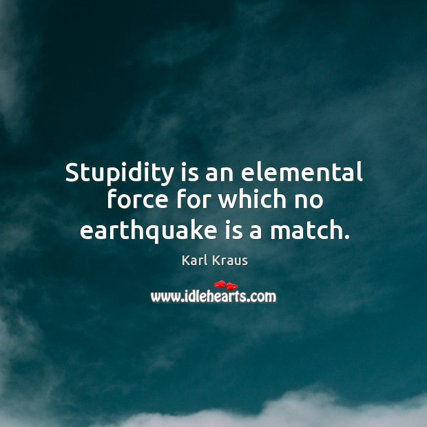 Stupidity is an elemental force for which no earthquake is a match. Image