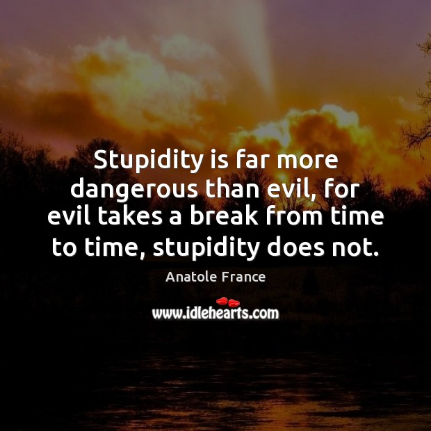 Stupidity is far more dangerous than evil, for evil takes a break Image