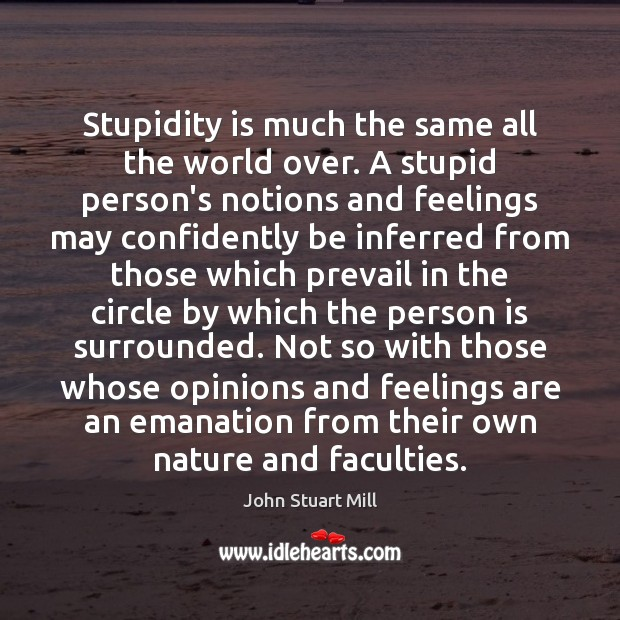 Stupidity is much the same all the world over. A stupid person's John Stuart Mill Picture Quote