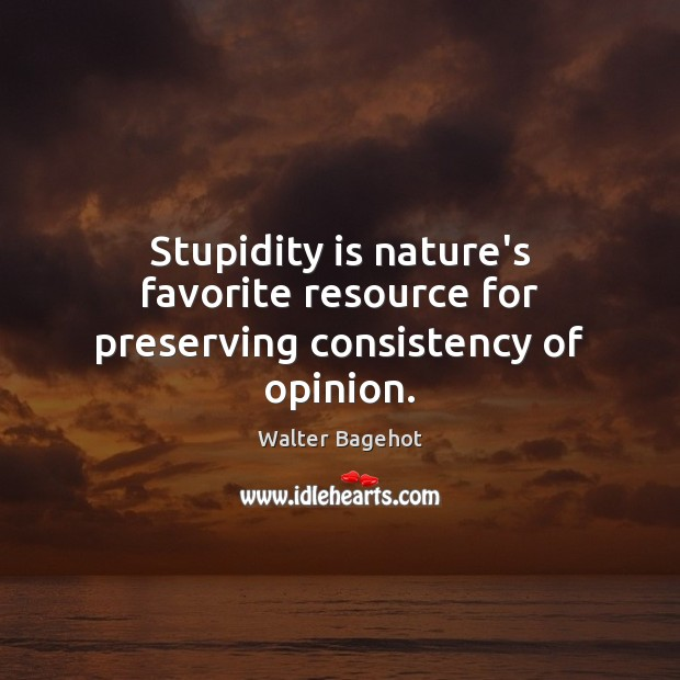 Image, Stupidity is nature's favorite resource for preserving consistency of opinion.