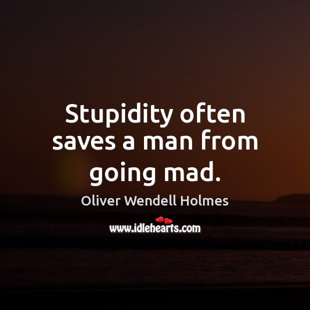 Image, Stupidity often saves a man from going mad.