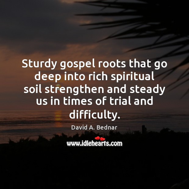 Sturdy gospel roots that go deep into rich spiritual soil strengthen and David A. Bednar Picture Quote