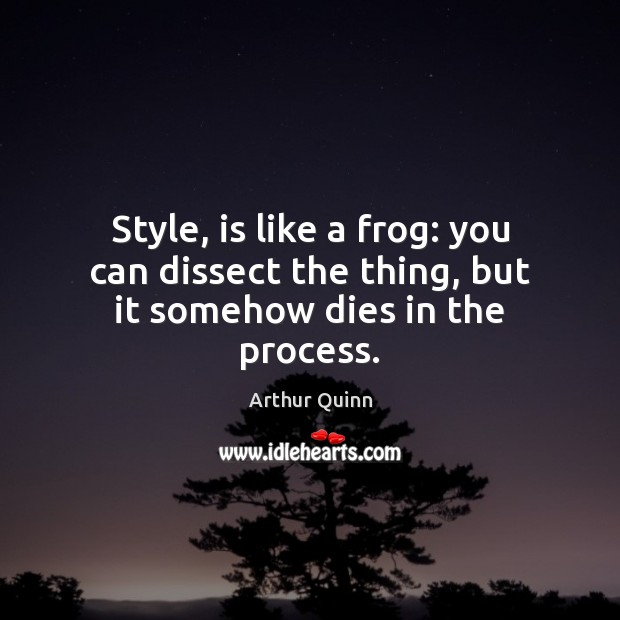 Image, Style, is like a frog: you can dissect the thing, but it somehow dies in the process.