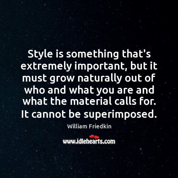 Style is something that's extremely important, but it must grow naturally out Image