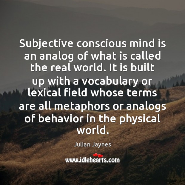 Subjective conscious mind is an analog of what is called the real Image