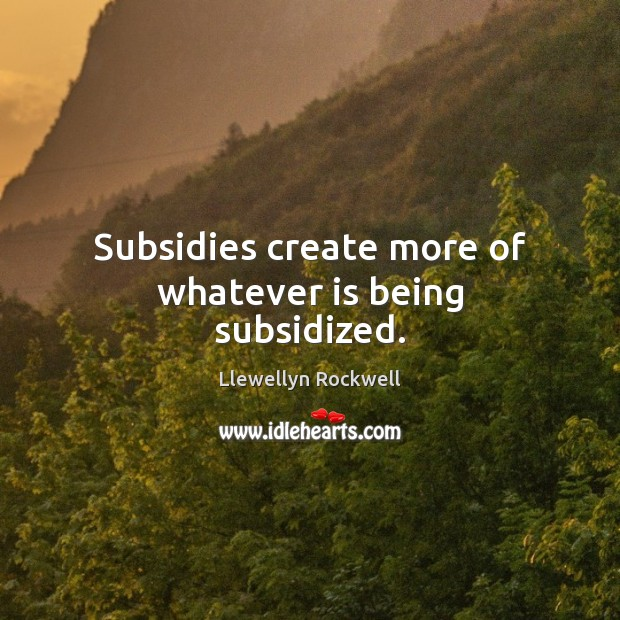 Subsidies create more of whatever is being subsidized. Image