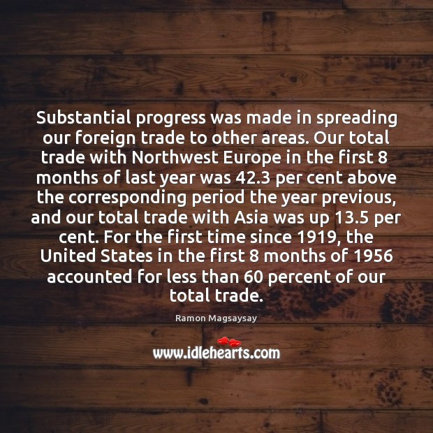 Image, Substantial progress was made in spreading our foreign trade to other areas.