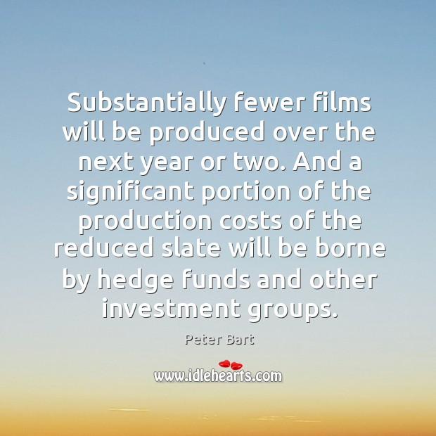 Substantially fewer films will be produced over the next year or two. Image
