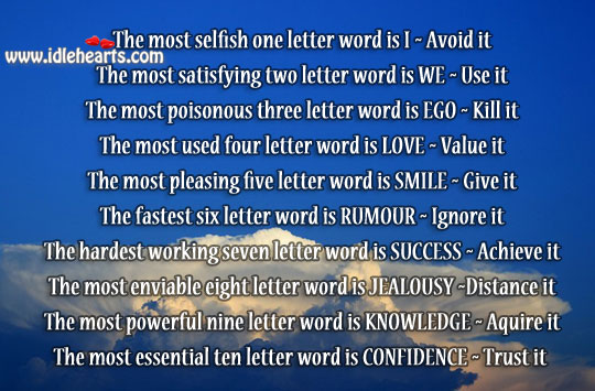 Image, Words to use and words to avoid in life