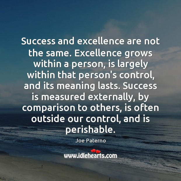Image, Success and excellence are not the same. Excellence grows within a person,