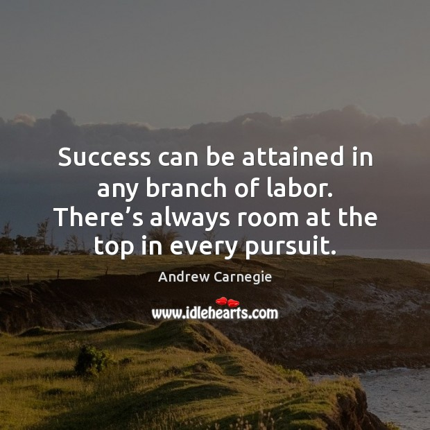 Success can be attained in any branch of labor. There's always Andrew Carnegie Picture Quote