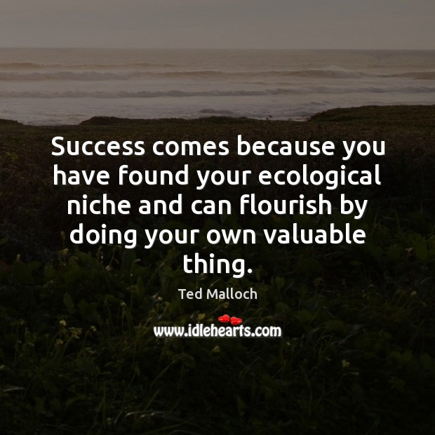 Success comes because you have found your ecological niche and can flourish Ted Malloch Picture Quote