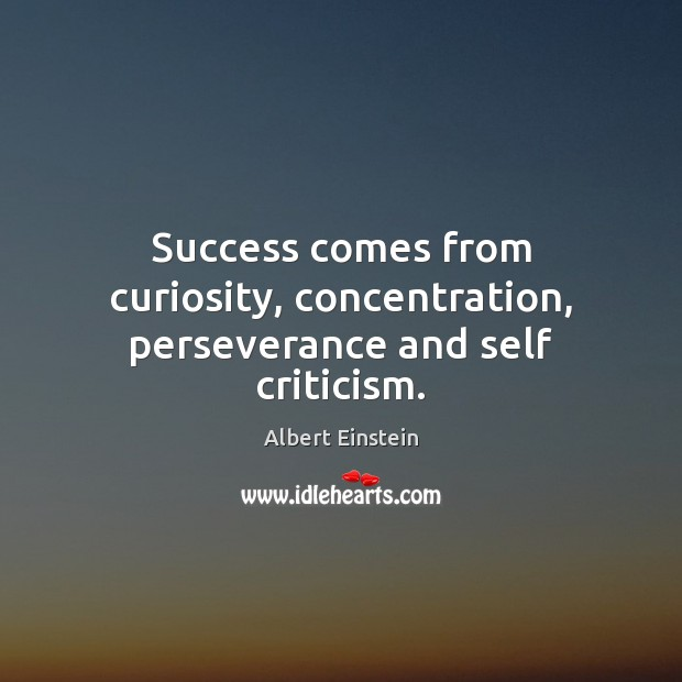Image, Success comes from curiosity, concentration, perseverance and self criticism.