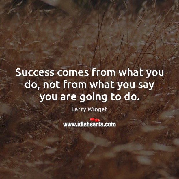 Success comes from what you do, not from what you say you are going to do. Image