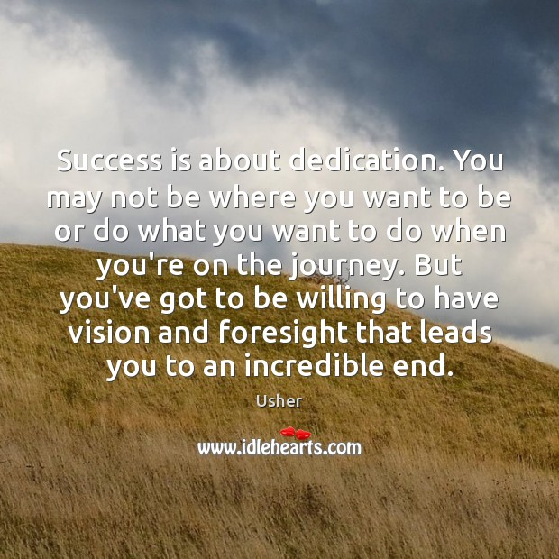 Success is about dedication. You may not be where you want to Image