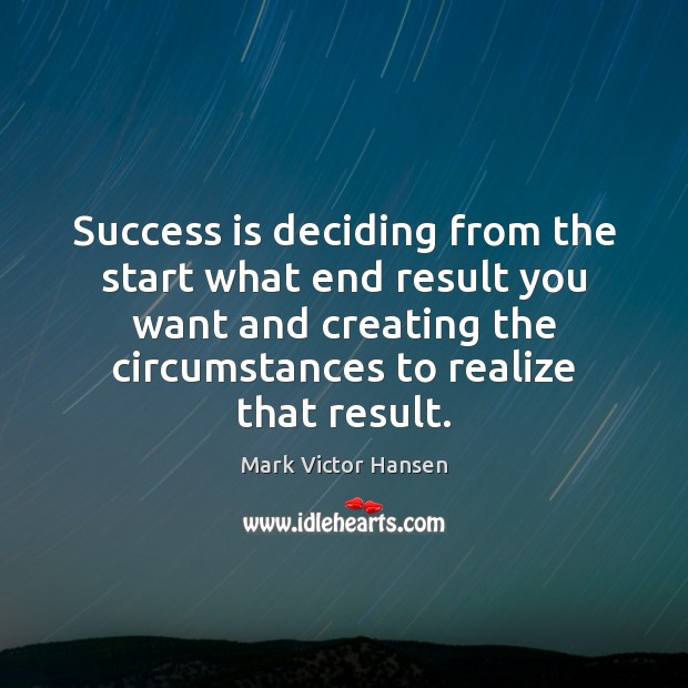 Image, Success is deciding from the start what end result you want and
