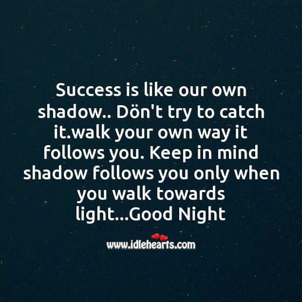Success is like our own shadow.. Image