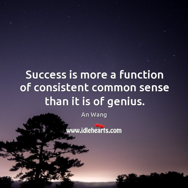 Success is more a function of consistent common sense than it is of genius. Image