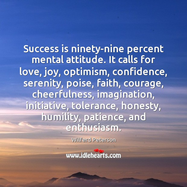 Image, Success is ninety-nine percent mental attitude. It calls for love, joy, optimism,